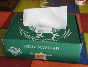 La caja de huevo campero edición Navidad se convierte en un servilletero
