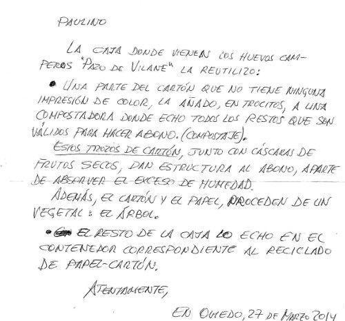 Una idea de reutilización de la caja de huevo campero llega por correo postal a Pazo de Vilane