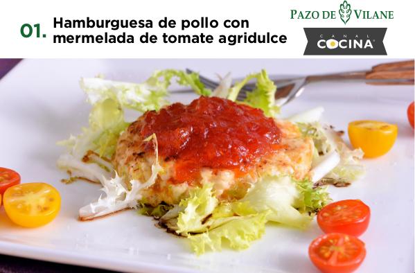 Hamburguesa de pollo con mermelada de tomate agridulce