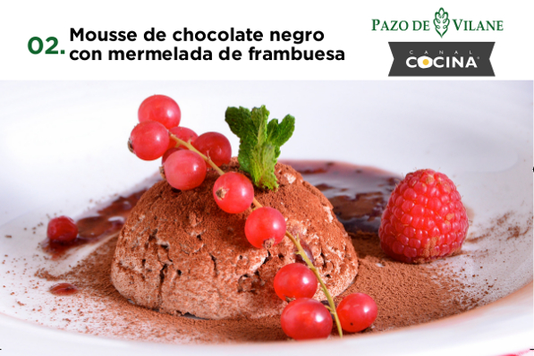 Mousse de chocolate negro con mermelada de frambuesa
