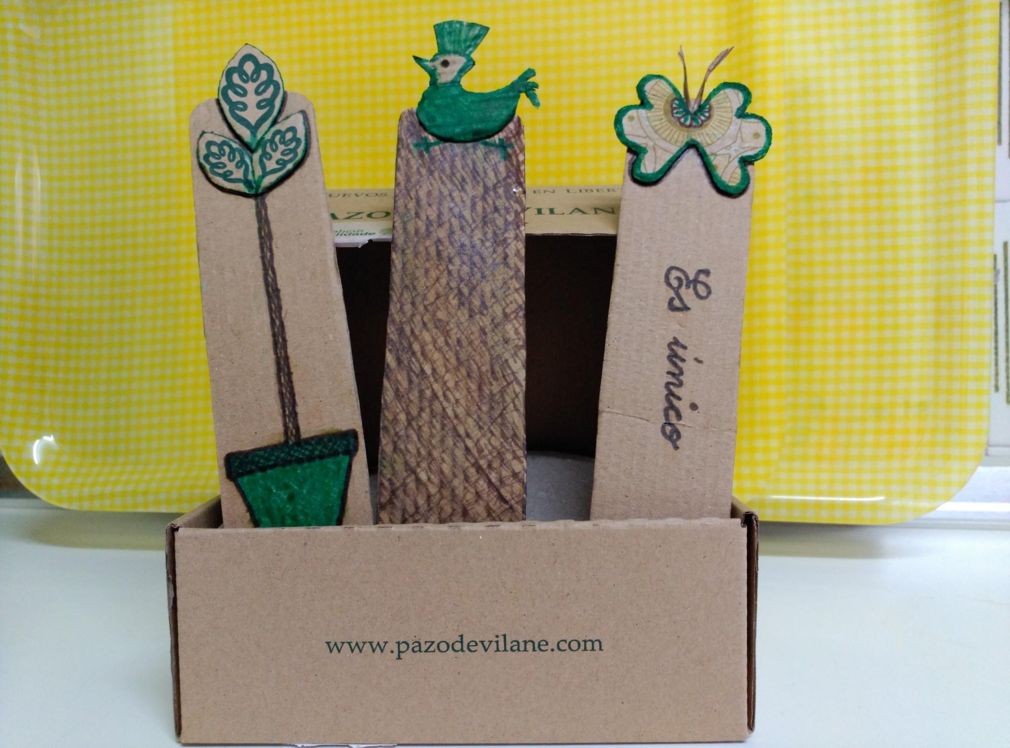 Marcapáginas creados con la caja de huevo campero Pazo de Vilane