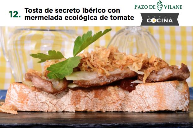 Tosta de secreto ibérico con mermelada ecológica de tomate