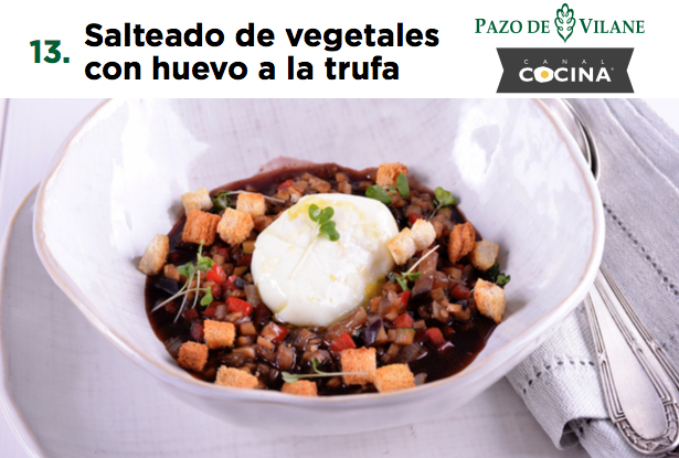 Salteado de vegetales con huevo a la trufa