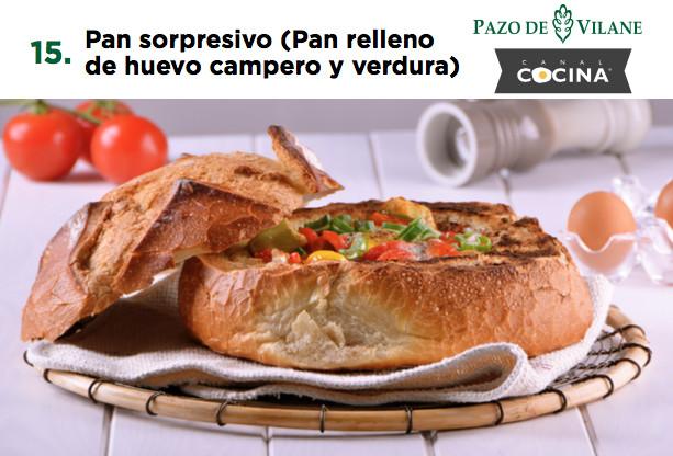 Pan sorpresivo (Pan relleno de huevo campero y verdura)