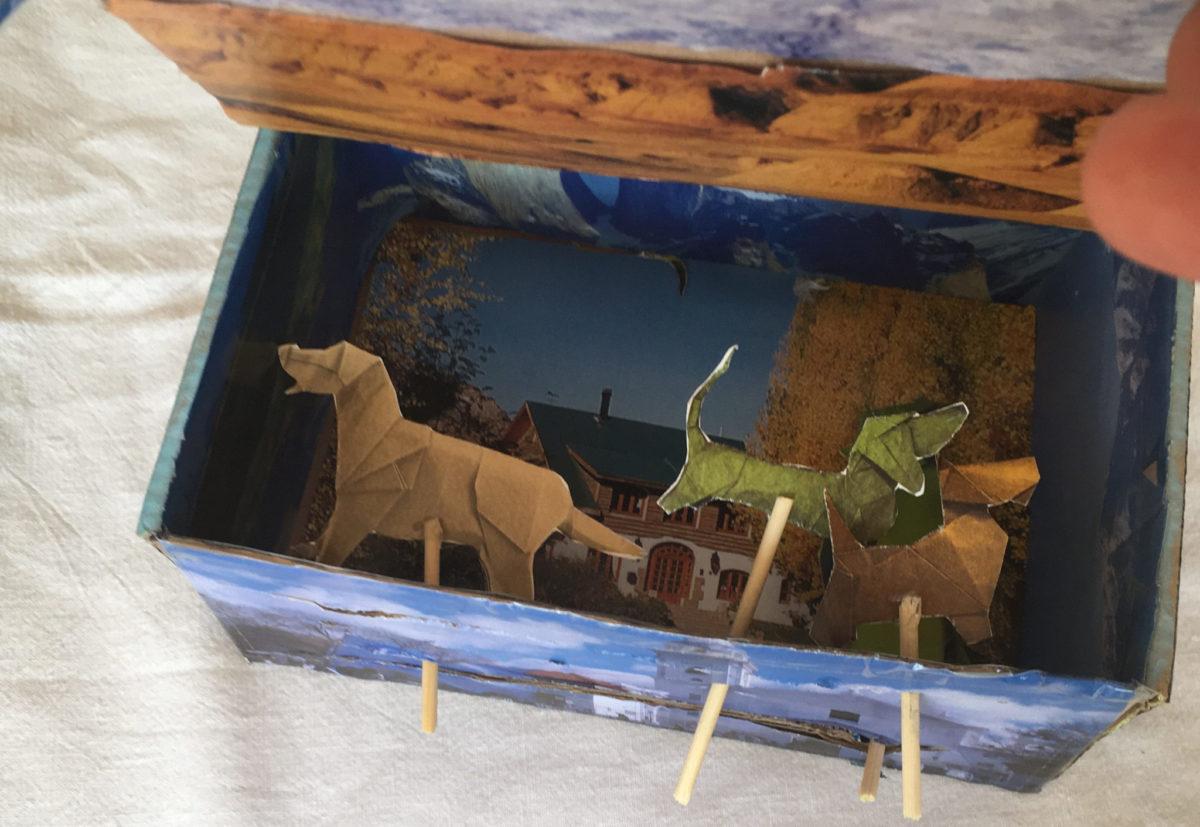 Paseando mascotas con la caja de huevos camperos Pazo de Vilane