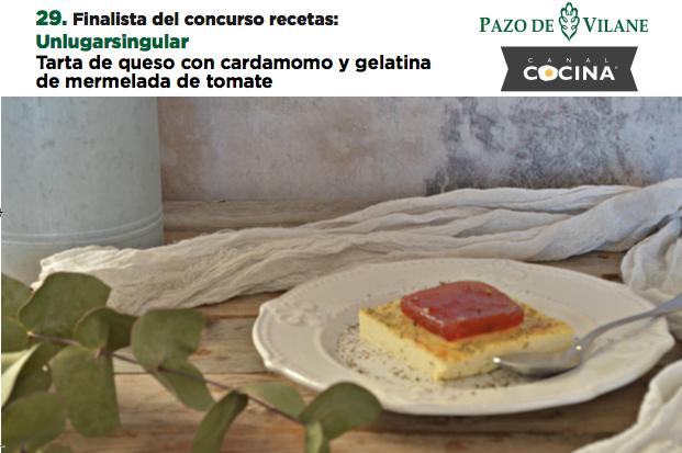 Tarta de queso con cardamomo y gelatina de mermelada de tomate