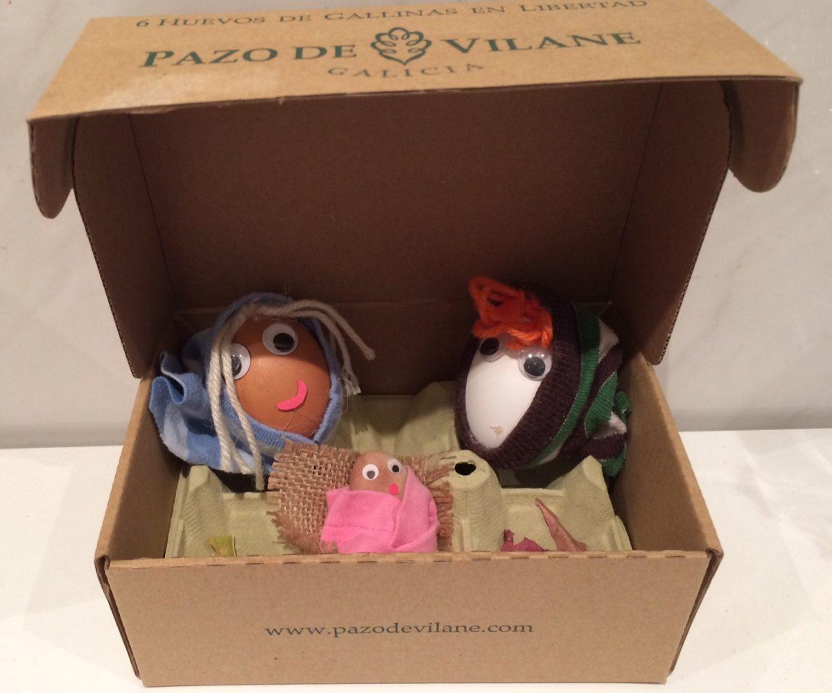 Un Belén con la caja de huevo campero Pazo de Vilane