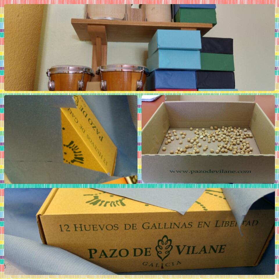 La caja de huevo campero Pazo de Vilane, creada por el artista Pepe Barro, se puede reutilizar de infinitas formas