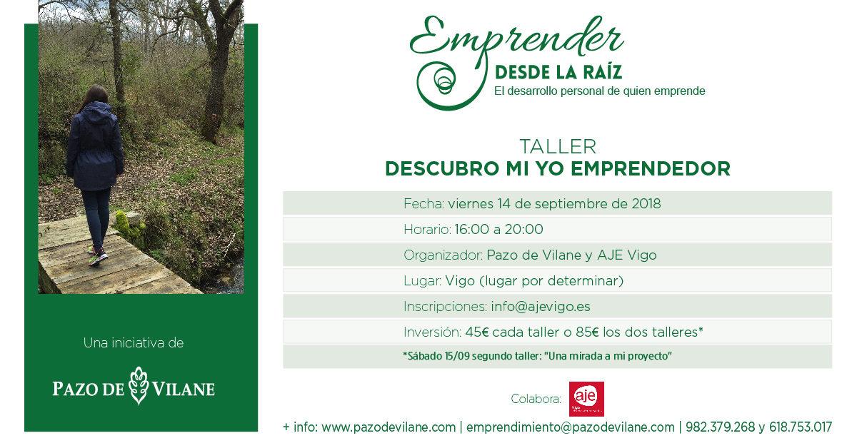 14 y 15 de septiembre: Pazo de Vilane y AJE Vigo organizan dos talleres dentro del proyecto Emprender desde la raíz