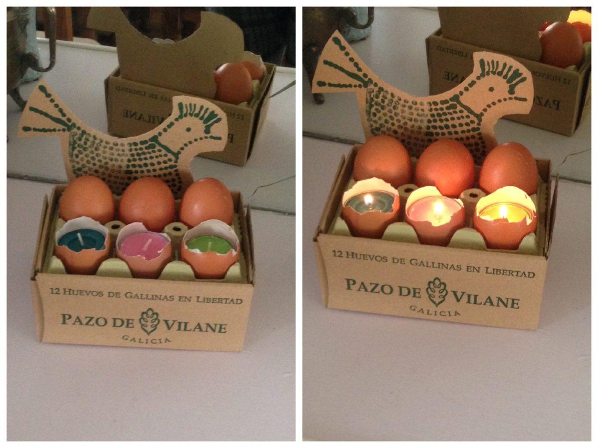 Portavelas creados con huevos camperos, huevera y caja Pazo de Vilane