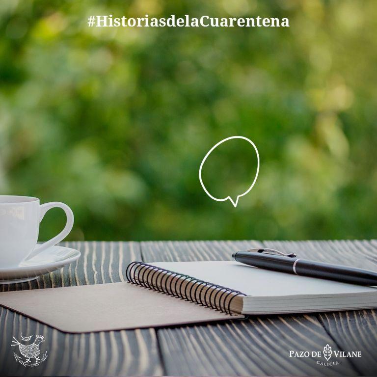 Cuaderno, boli y taza de café. Elementos que ayudan a escribir a nuestros usuarios sus historias de la cuarentena en el coronovirus