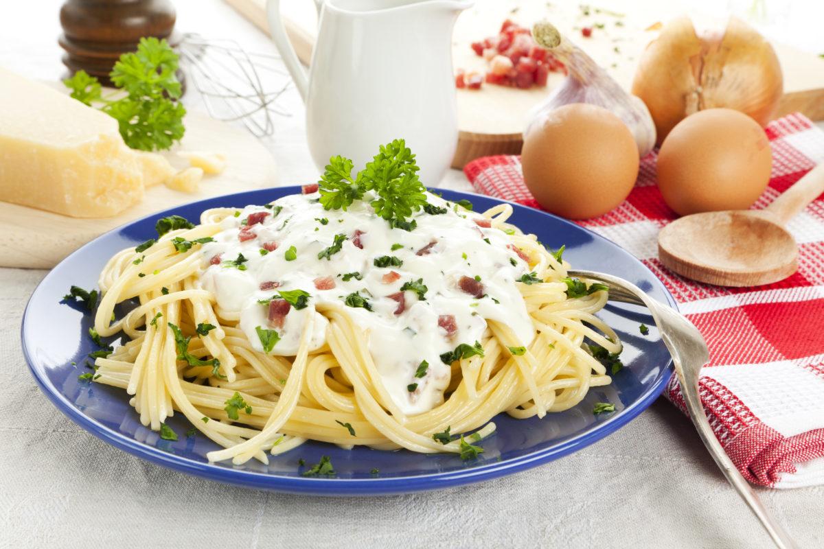 Receta de espaguetis carbonara de Pazo de Vilane