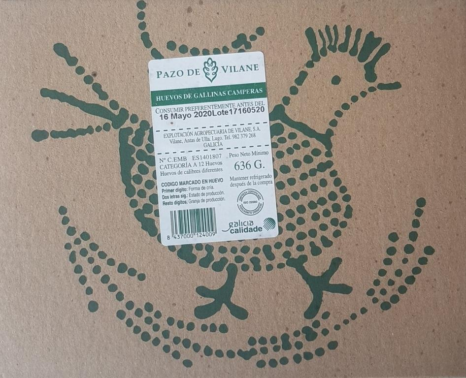 Etiquetado de caja de huevos de Pazo de Vilane