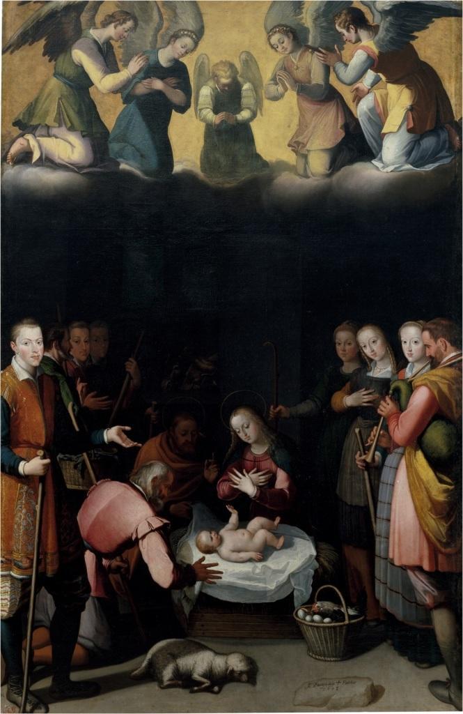 Los huevos están presentes en El Nacimiento de Cristo, obra de Juan Pantoja de la Cruz.