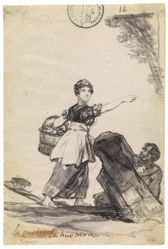 La huebera o huevera de Francisco de Goya, dibujo de uno de los mejores pintores de todos los tiempos.