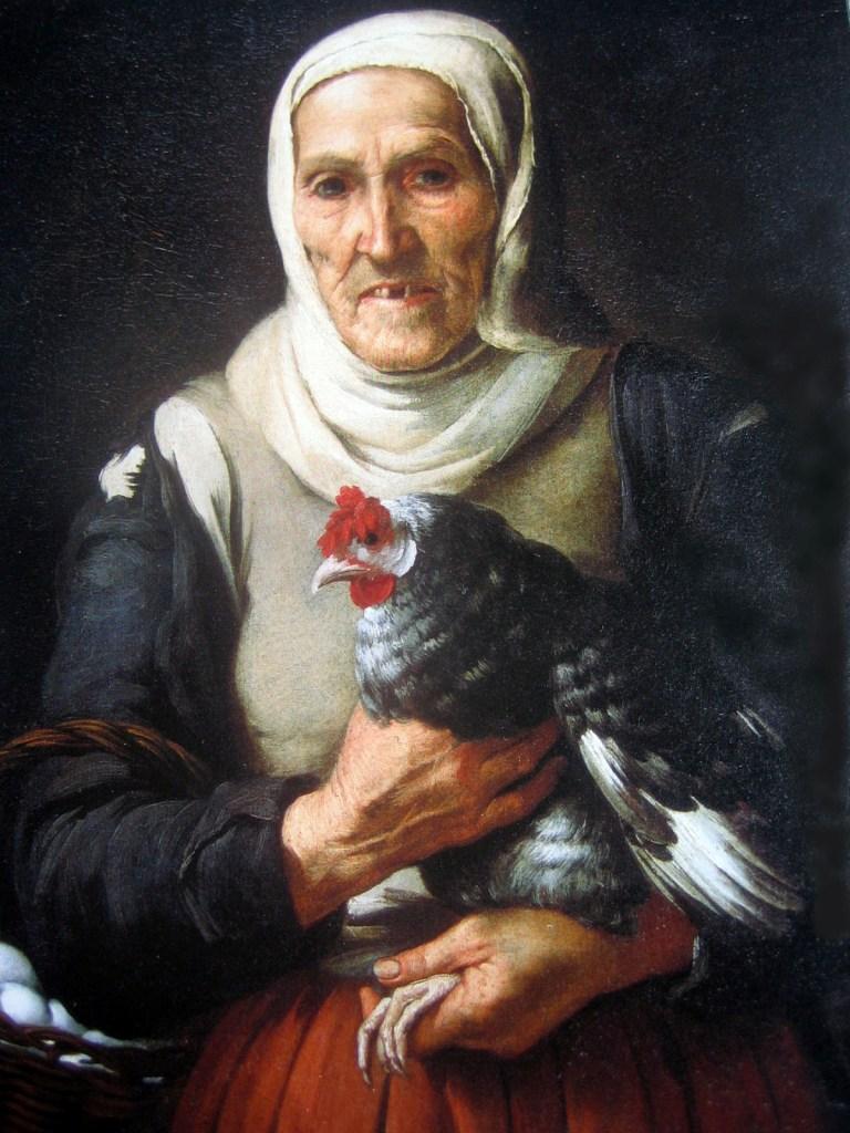Vieja con gallina y cesta de huevos, de Murillo. Los huevos y el arte están íntimamente relacionados.