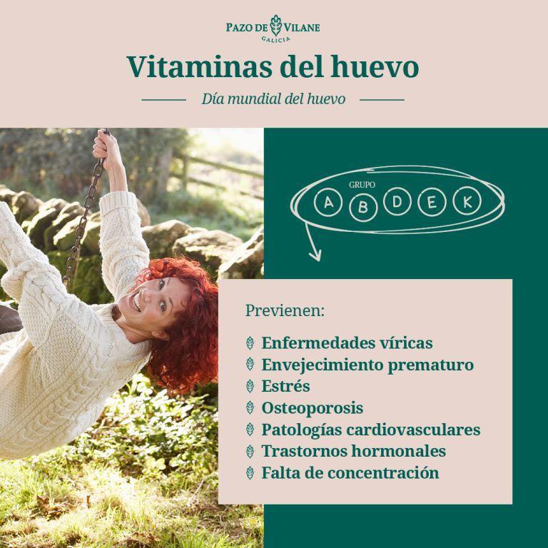 Infografía sobre las vitaminas del huevo campero de Pazo de Vilane